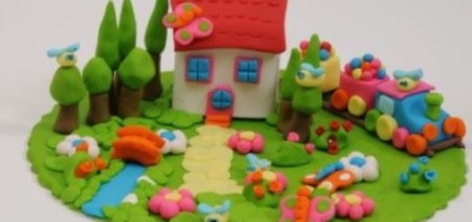 Лепит девочка дом пластилиновый